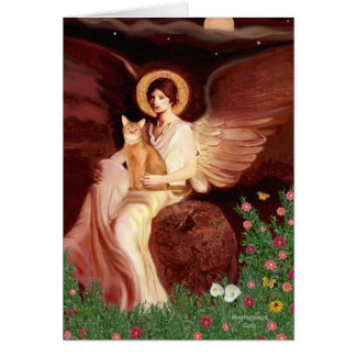 Seated Angel - Red Abyssinian Card