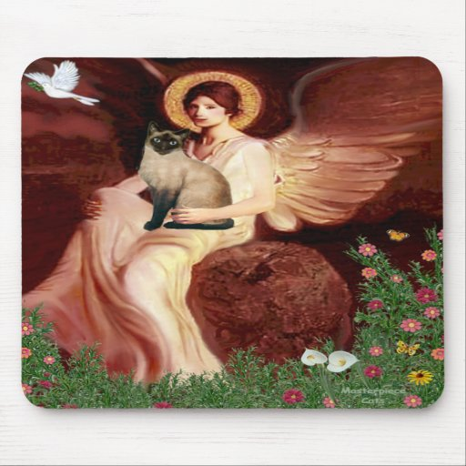 Seated Angel - Seal Point Siamese cat Mouse Pad