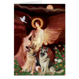 Seated Angel - Two German Shepherds Card