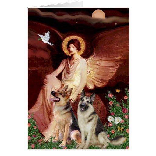 Seated Angel - Two German Shepherds Card