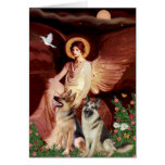 Seated Angel - Two German Shepherds Greeting Card