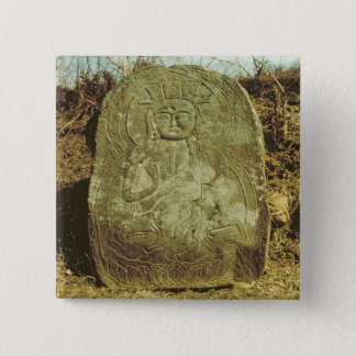 Seated Bodhisattva, Korean, c.985 AD (granite) 15 Cm Square Badge