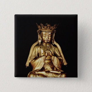 Seated Buddha 15 Cm Square Badge