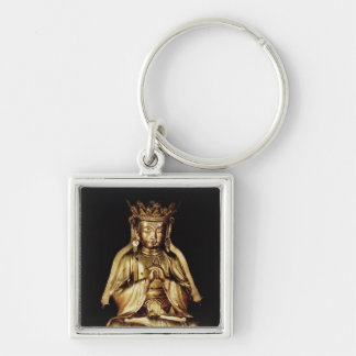 Seated Buddha Silver-Colored Square Key Ring