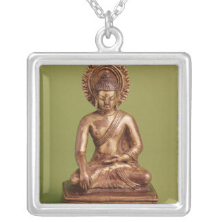 Seated Buddha Silver Plated Necklace