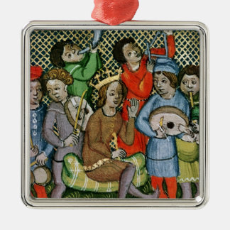 Seated crowned figure surrounded by musicians christmas ornament