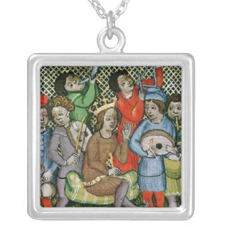 Seated crowned figure surrounded by musicians silver plated necklace