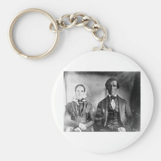Seated Man and Woman Couple 1840 Keychains