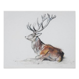 Seated Stag Poster