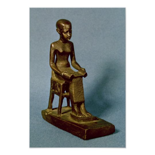 Seated statue of Imhotep holding an open Poster