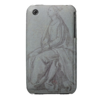 Seated Woman c 1514 black white chalk on blue- Case-Mate iPhone 3 Case