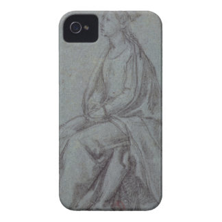 Seated Woman c 1514 black white chalk on blue- iPhone 4 Case-Mate Cases