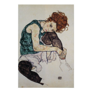 Seated woman, Egon Schiele, 1917, 16W x 24H Poster
