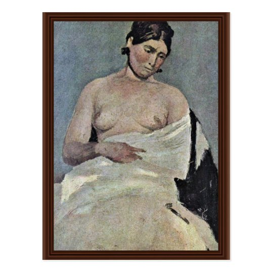 Seated Woman With Bare Chest,  By Corot Jean-Bapti Postcard