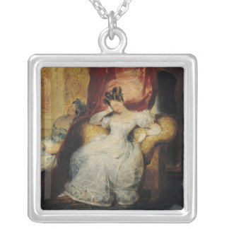 Seated young women, 1827 silver plated necklace