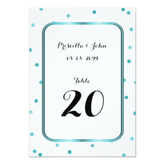 Seating Card, list behind,confetti,turquoise,black Card