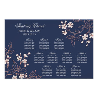 Seating Chart 10 Tables Blue Coral Floral Poster