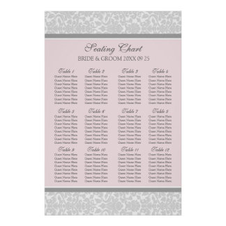 Seating Chart 12 Tables 96 Guests Pink Grey Damask Posters
