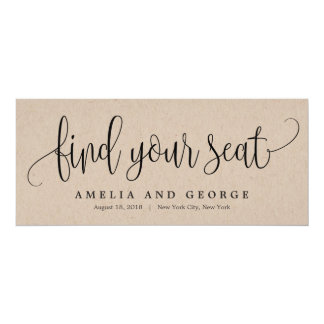 Seating Plan Title Card - Lovely Calligraphy Kraft