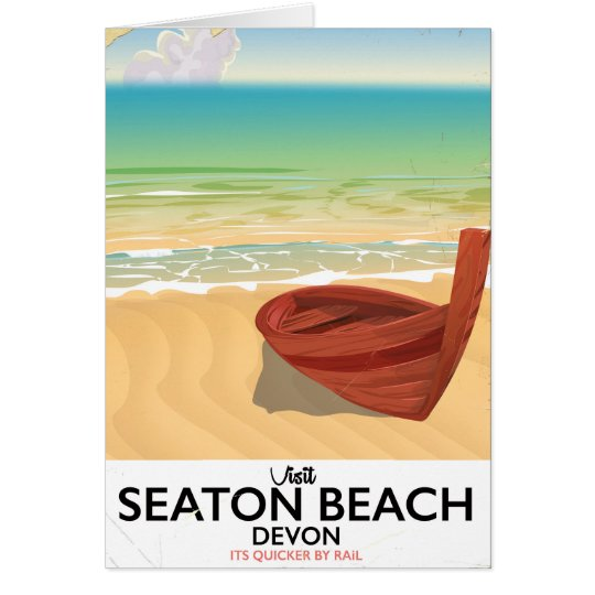 Seaton Beach Devon vintage seaside poster Card
