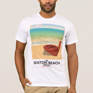 Seaton Beach Devon vintage seaside poster T-Shirt