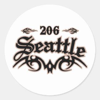 Seattle 206 classic round sticker