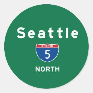 Seattle 5 classic round sticker