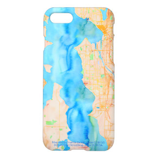 Seattle and Puget Sound Watercolor Map iPhone 7 Case