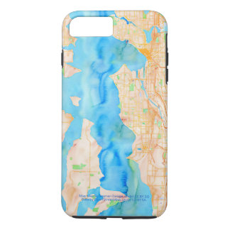 Seattle and Puget Sound Watercolor Map iPhone 7 Plus Case