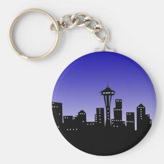 Seattle Basic Round Button Key Ring