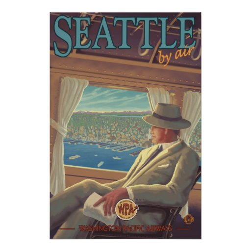 Seattle By Air - Washington Travel Poster