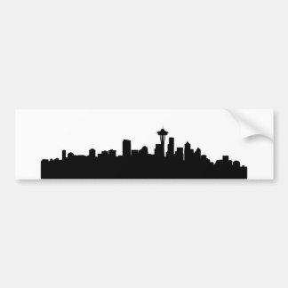 seattle city cityscape black silhouette america us bumper sticker