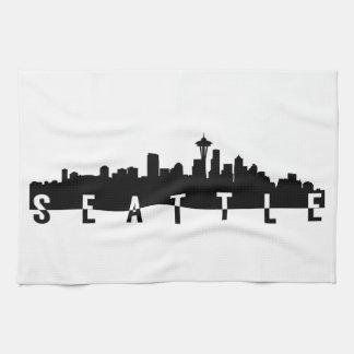 seattle city skyline silhouette black shape americ tea towel