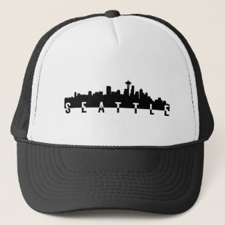 seattle city skyline silhouette black shape americ trucker hat