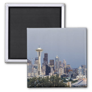 Seattle cityscape square magnet