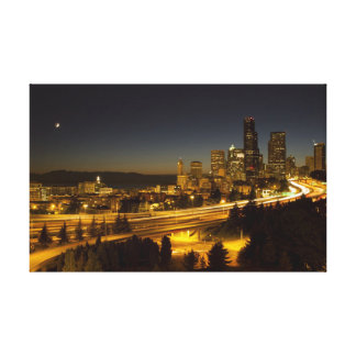 Seattle Cityscape Stretched Canvas Print