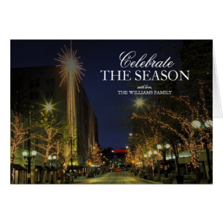 Seattle, Decorated 4th Avenue at Night, holidays Card