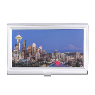Seattle, Downtown and Mt. Rainier at Twilight Business Card Holder