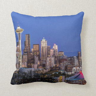 Seattle, Downtown and Mt. Rainier at Twilight Cushion