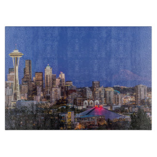 Seattle, Downtown and Mt. Rainier at Twilight Cutting Board