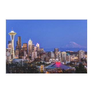 Seattle, Downtown and Mt. Rainier at Twilight Gallery Wrap Canvas