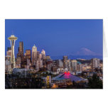 Seattle, Downtown and Mt. Rainier at Twilight Greeting Card