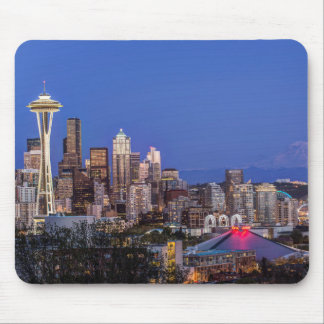 Seattle, Downtown and Mt. Rainier at Twilight Mouse Mat