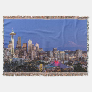 Seattle, Downtown and Mt. Rainier at Twilight Throw Blanket