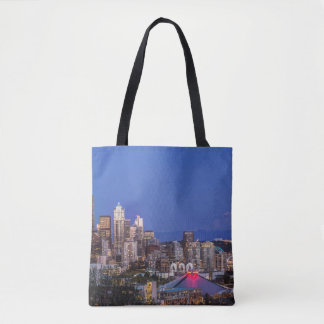 Seattle, Downtown and Mt. Rainier at Twilight Tote Bag