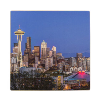 Seattle, Downtown and Mt. Rainier at Twilight Wood Coaster