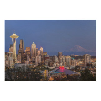 Seattle, Downtown and Mt. Rainier at Twilight Wood Print