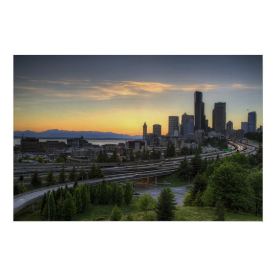 Seattle Downtown Skyline at Sunset Poster