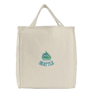 SEATTLE Emerald City Embroidered Tote Embroidered Tote Bags