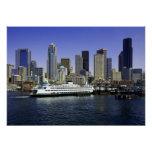 Seattle Ferry and Buildings Poster